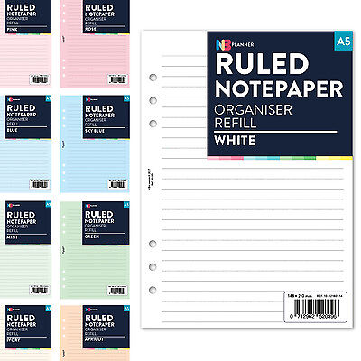 A5 FILOFAX ring binder Compatible Ruled lined notepaper Insert Refill Coloured