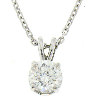 NEW 14k White Gold .55ct Round SI1 F Diamond Solitaire Pendant w/ Cable Chain