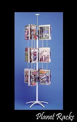"Planet Racks 24 Pocket 8.5"" X 11"" Magazine Retail Spinner Display - White"
