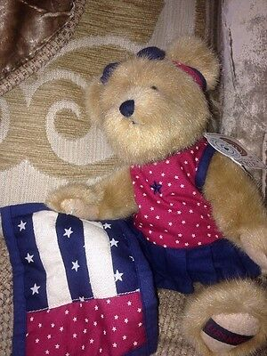 "Gen-yoo-wine Boyds Patriotic Teddy Bear 10"" Plush Libearty Collectable Rare"