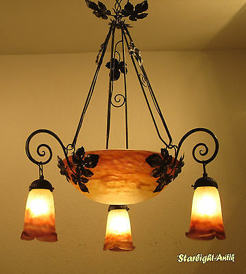 Wonderful French Art Deco Chandelier 1925 - Signed: Muller Fres Luneville