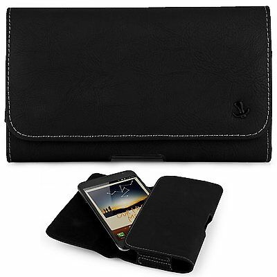 """Matte Black Leather Case Holster Belt Clip Pouch For Samsung Galaxy S7 Edge 5.5"""""""