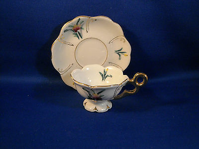 Vintage Miniature White Floral W/fired Gold Trim Tea Cup & Saucer Made In Japan