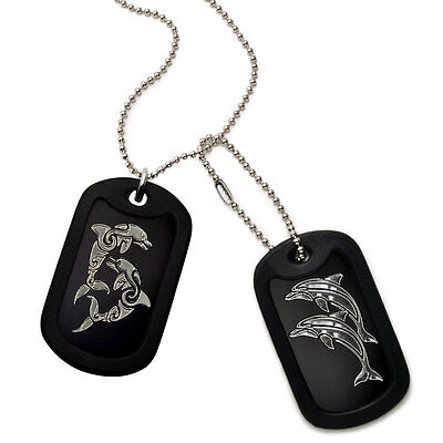 Made in USA Aluminum Dog Tag Necklace with Engraved Dolphins Design-DOJAN128