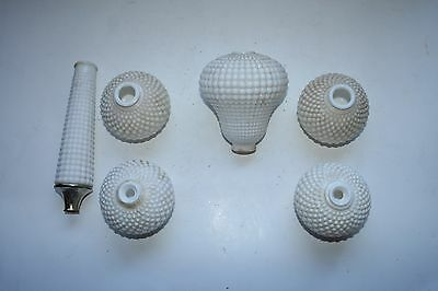 Antique art deco milk glass hobnail candle wick table lamp column riser lot of 6