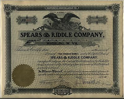 Spears & Riddle Stock Certificate Oil Refining Wheeling West Virginia Unissued