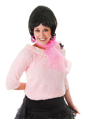 Ladies 1950s Pink Poodle Scarf Nick Tie Grease Fancy Dress Costume Accessories