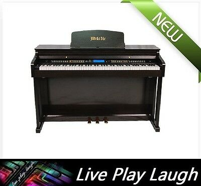 New MELODIC 100 Rhythms 88 Standard Weighted Keys 3 Pedals Digital Piano - Black