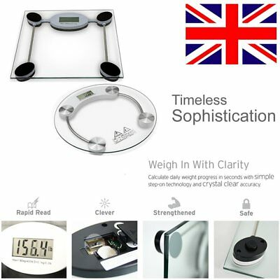 Digital Bathroom Weighing Body Scales Electronic Glass LCD KG LBS UK