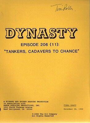 JOAN COLLINS - Original DYNASTY Script  'Tankers, Cadavers To Chance' 1988 [#33]