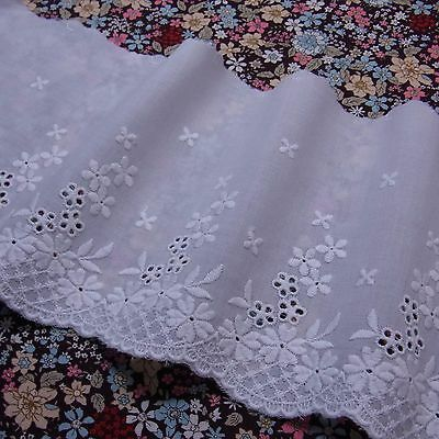 "Antique ST Eyelet Embroidered Cotton Lace 5.5""(14cm) Wide White Off white 1yd"