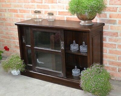 Sideboard Cupboard Cabinet Glass Display Chest Shelves Tv Stand Brown Teakwood