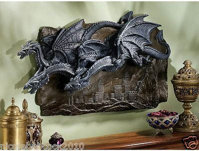 3 FLYING Dragons GOTHIC WALL MEDIVEAL SCULPTURE HOME GARDEN DECOR