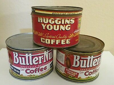 Vintage Butternut and Huggins  Young coffee tins  Lot of 3