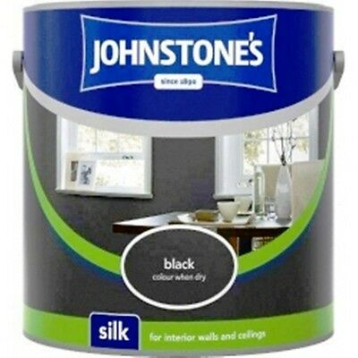 Johnstones Quality Black Emulsion Wall Paint 2.5L Silk for Kitchens & Bathrooms