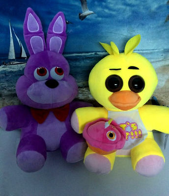"""2pcs FNAF Five Nights at Freddy's Chica & Bonnie Plush Toys doll gift 10"""" New"""