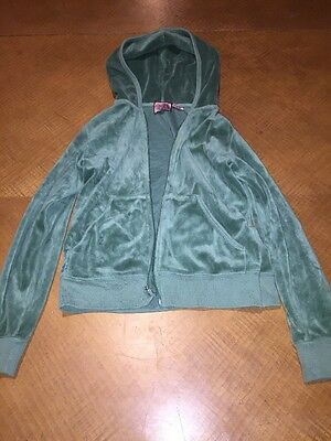Juicy Couture girls youth green  velour velvet zipper hoodie jacket size 12