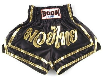 Boon Muay Thai Black & Gold Shorts Kick Boxing