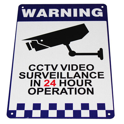 WARNING SECURITY SIGN CAMERA CCTV 200x300mm Metal UNDER24H SURVEILLANCE 16003002