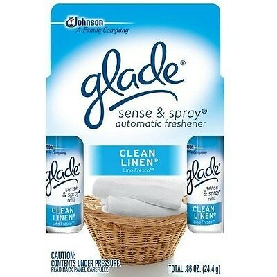 Glade Sense & Spray Clean Linen Refill Twin, 25ml. Free Delivery