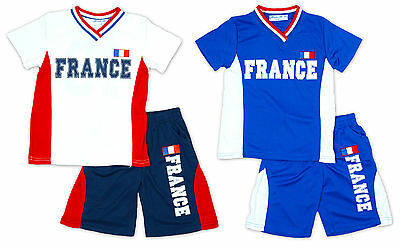 Boys Top Shorts Tee Outfit FRANCE No19 V Neck Football Kids Set  2 to 14 Years