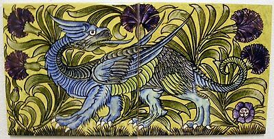 William De Morgan 2 Tile Dragon Panel / Bathroom / Kitchen / Splashback / Plaque