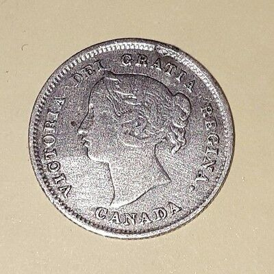 1891 5C Canada 5 Cents, CIRCULATED Victoria Coin