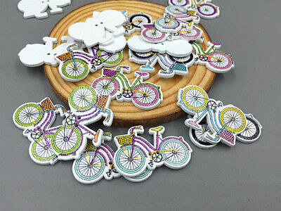 Mixed Color Bicycles Sewing Wooden Buttons Scrapbooking Crafts Decorations 32mm