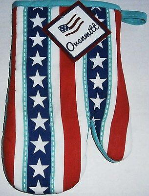 """Patriotic OVENMITT  STARS AND STRIPES  10"""""""