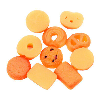 10PCS Cookies Food Miniature Biscuit Kitchen Dining 1:12 Dollhouse Decor Gift