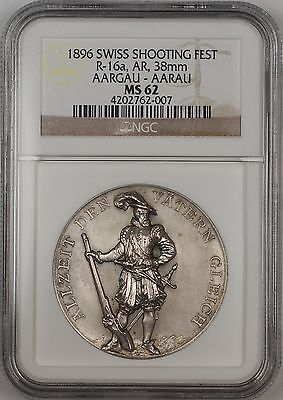1896 Aargau-Aarau Switzerland Silver Swiss Shooting Fest Medal R-16a NGC MS-62
