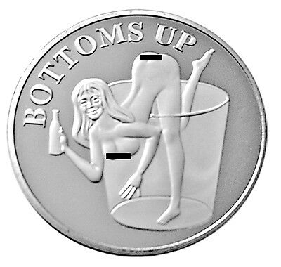 Bottoms Up Booze Hound Pin Up Lucky Heads Tails Sexy Lady Challenge Coin Art