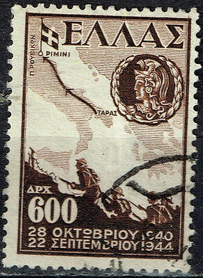 Greece WW2 Army Battle scene in Italy Map stamp 1947
