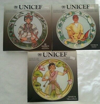 3 X Villeroy & Boch Children Of The World Plates For Unicef # 5 10 & 1