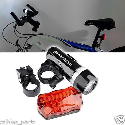 Waterproof 5 LED Lamp Bike Bicycle Front Head Light + Rear Safety Flashlight New