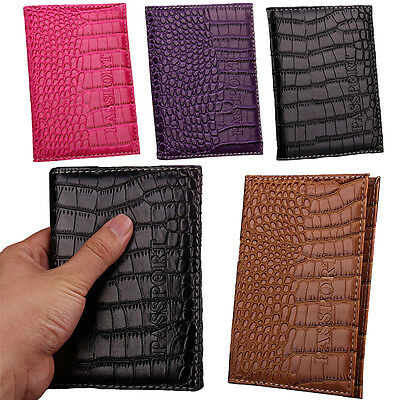 Fashion Alligator Grain Leather Travel Passport Cover ID Credit Card Holder NEW