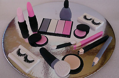 Edible fondant make-up toppers. Ladies/Girls make-up cake topper pack