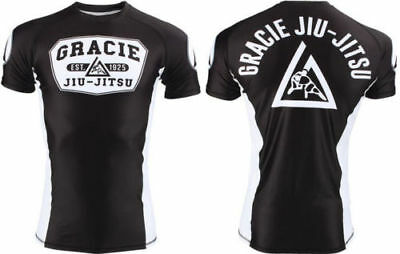 Gracie BJJ RASH GUARD JIU JITSU MMA White Black RASHGUARD Compression IBJJF