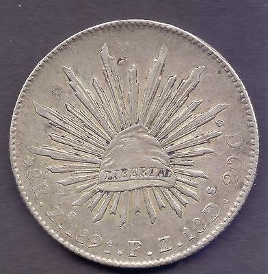 B60,mexico,1891 8 Reales Silver Coin, Fine Details.