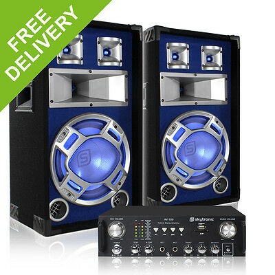 "2x Skytec 12"" Blue LED Speakers + Amplifier + Cables Party DJ Disco System 1200W"