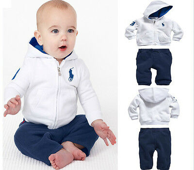 2pcs Autumn Kids Boys Hoodies Polo White Sweater Suit Hooded+Pants Outfit Sets