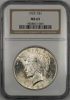 1923 Silver Peace Dollar $1 Coin NGC MS-63
