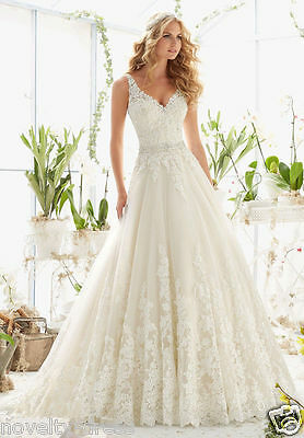 New White/Ivory lace Bridal Gown Wedding Dress Size 2 4 6 8 10 12 14 16 18+++