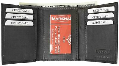 Mens Trifold Genuine Leather RFID Blocking Wallet Black New with BOX by Marshal