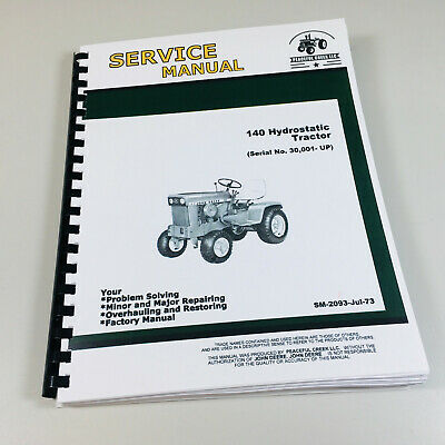 John Deere 140 Lawn Garden Tractor Service Repair Technical Shop Manual Mower