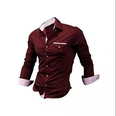 Azzuro Men's Long Sleeve Shirt with Plaid Trim Red (Size M / 40). Free Shipping