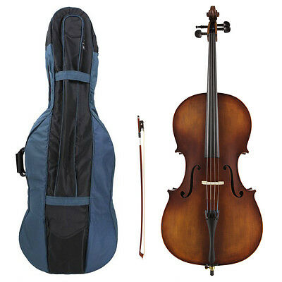 Kreisler #130 Beginner 4/4 Size Cello Outfit with Bow, Bag, Rosin & Pro Setup!