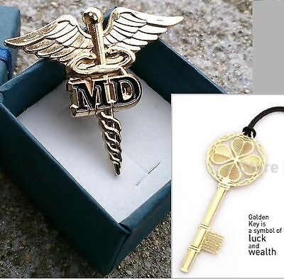 "2x MD Golden CADUCEUS MEDICAL DOCTOR BADGE LAPEL PIN 1.5"" & Gift lot of 2"