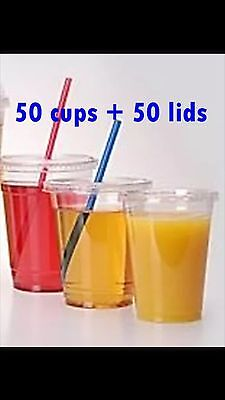 100 PC PET Strong Plastic cups Cold cups and flat lids 12 OZ