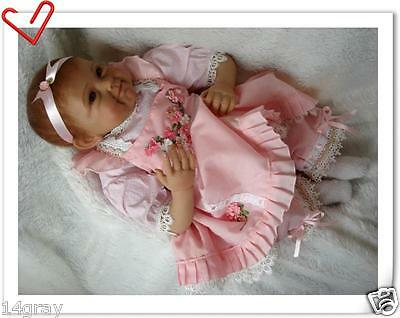 "22"" Lifelike Soft Silicone Reborn Baby Doll Pink Dress Smile Baby Bambole"